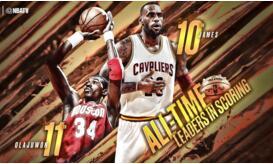 詹姆斯26947分超越奥拉朱旺 跻身NBA历史排名前十