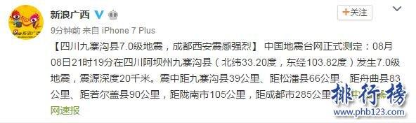 地震最新消息今天:九寨沟县发生7.0级地震