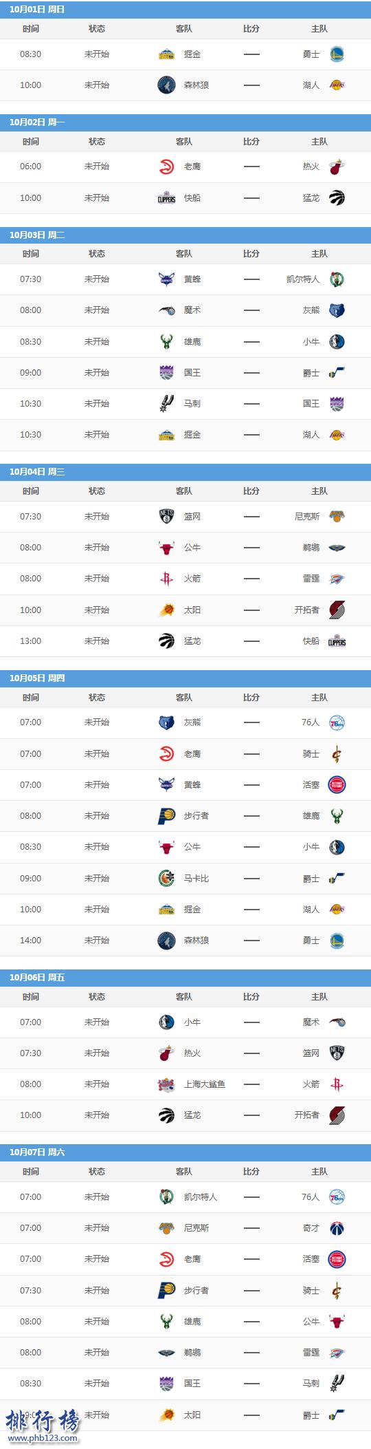2017-2018NBA季前赛什么时候开始,2018NBA季前赛赛程
