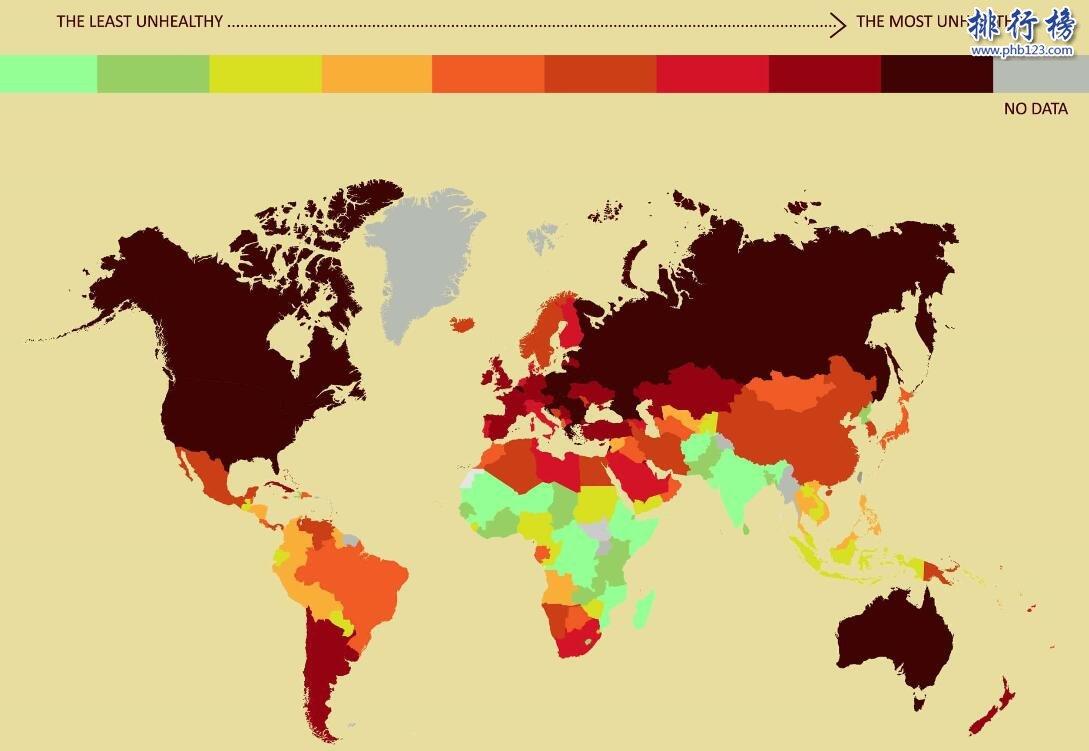 全球最不健康国家地图