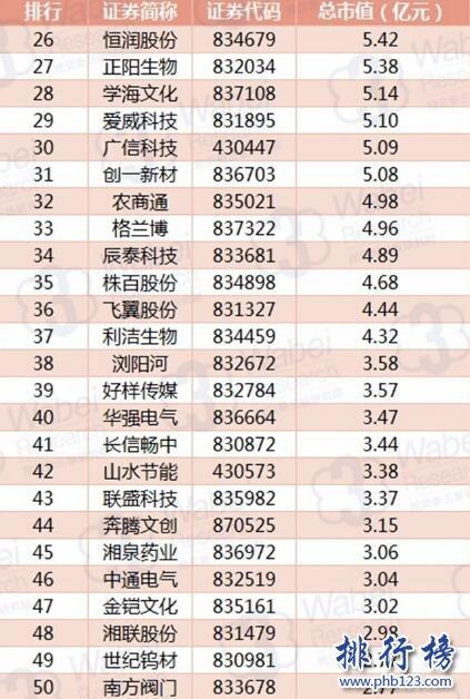 2017年10月湖南新三板企业市值TOP100:黑金时代223亿居首